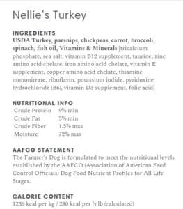 Postscript: Veterinarians weigh in on The Farmer's Dog. This is a sample recipe.