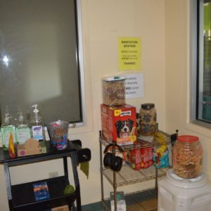 treat and sanitation room which you must enter before entering the adoptable kennel