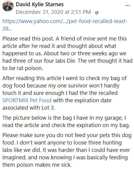 Starnes' FB post about pet food recall and loss of three dogs.