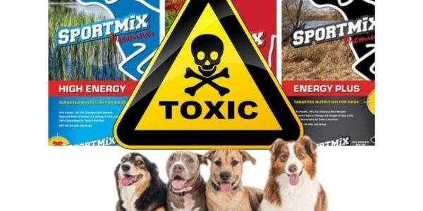sportmix images of bags, toxic symbol, 4 dogs